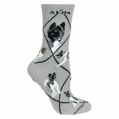 Akita Dog Breed Gray Lightweight Stretch Cotton Adult Socks