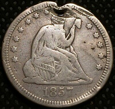 1857 Seated Liberty Quarter Damage