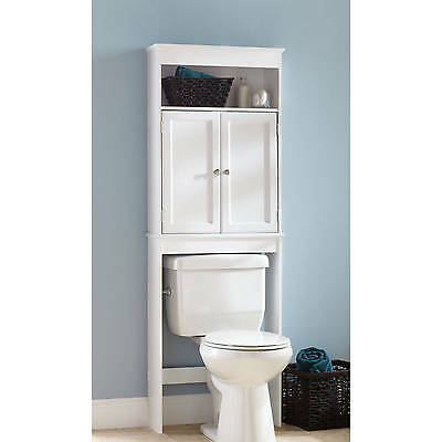 Over Toilet Space Saver Bathroom Storage Cabinet Wood White. Narrow Wood  Floor Bathroom Storage Cabinet