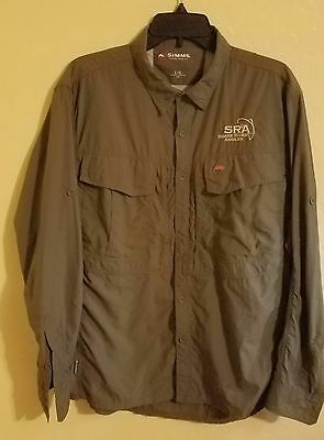 Simms Fishing Shirt Guide Series Long Sleeve Button Up Green Mens Large