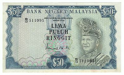 1976 Malaysia RM50 Ringgit 3rd Series Pick#16 KNB16b – Uncirculated UNC - RARE