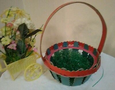 Vintage 40's Easter Basket with Vintage Wax Paper Easter Grass no handle