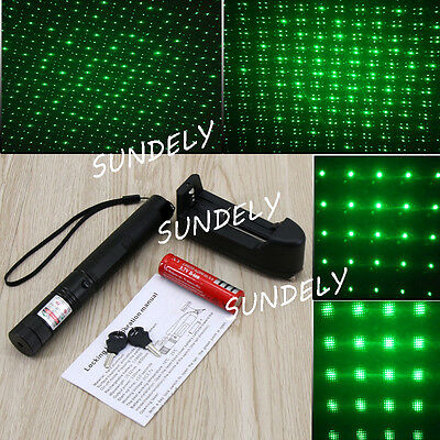 Poweful 8000M 532nm 1mw 303 Green Laser Pointer Pen kit+18650 Charger AU Adapter