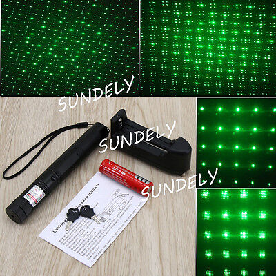 New 532nm 1mw Green Laser Pointer Light Pen Beam + 16340 + Battery AU Adapter