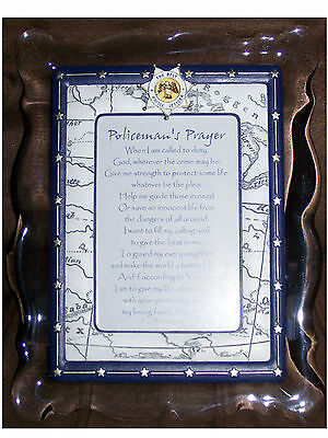 New Policeman's Prayer Musical Frame The Lord's Prayer Police Officer