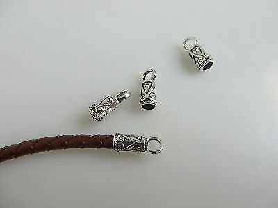 30pcs Silver Tone End Bead Caps Jewelry Findings For 3mm Round Leather Cord