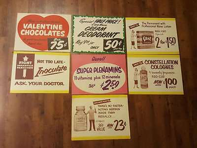 7- 1950's 1960's Rexall store display signs. paper. Valentine. Aspirin. Cologne.