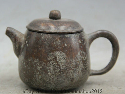 """4"""" Old Marked Chinese Dynasty palace Bronze round stoup Wine Tea Pot Flagon"""
