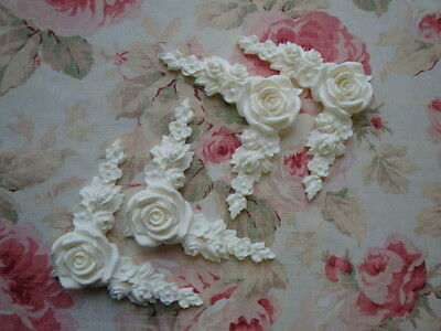 New! Shabby~Chic Large Rose Floral Corner Spandrels 4pc. Furniture Applique