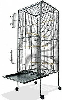 Large Bird Cage Metal Aviary XXL On Wheels 4ft10 Birds House Silver Anthracite