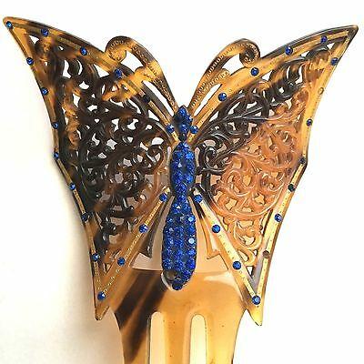 1- 1920s  VINTAGE LG. CELLULOID BLUE DECO RHINESTONE BUTTERFLY COMB RARE/BEAUTY
