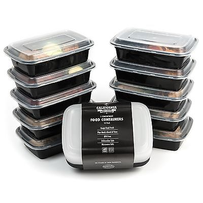 California Home Goods 1 Compartment Reusable Food Storage Containers with Lid...