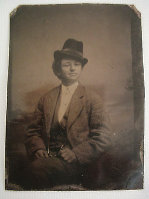 Antique Tintype Photo Young Man with Hat.