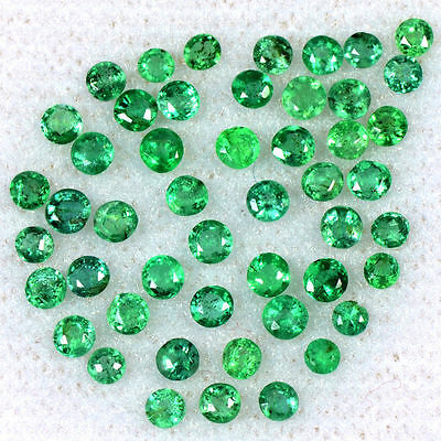1.94 Cts Natural Top Green Emerald Normal Cut Round Lot 2 mm Zambia Loose Gem $