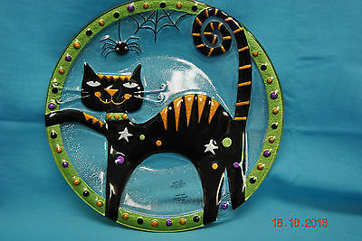 Silvestri Black Cat Snack Plate Hand Blown Glass Fusion Halloween Decoration