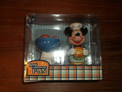 Disney Store Mickey's Summertime Fun Barbeque Salt and Pepper Shakers New