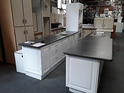 Black Marble & Glossy White 'Galley' Style Kitchen - $2275.00