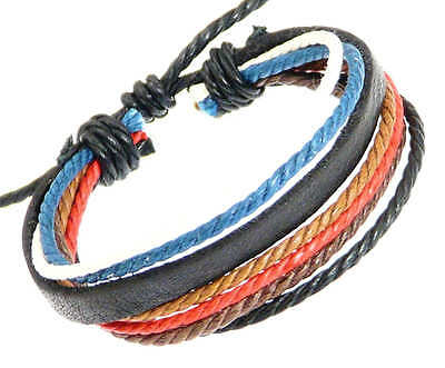 Leather Strap & Coloured Cords Leather Bracelet / Surf Wristband Surfer