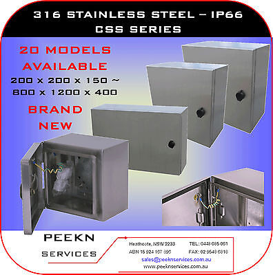 400W 400H 250D, IP66 316 Stainless Steel enclosure cabinet switchboard CSS404025