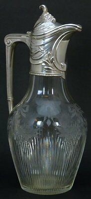 ANTIQUE GERMAN 800 SILVER AND ETCHED CRYSTAL CLARET/DECANTER , circa 1905