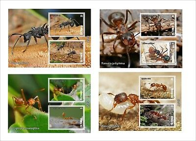 Ants 2016 Insects Bugs 8 Souvenir Sheets Mnh Unperforated
