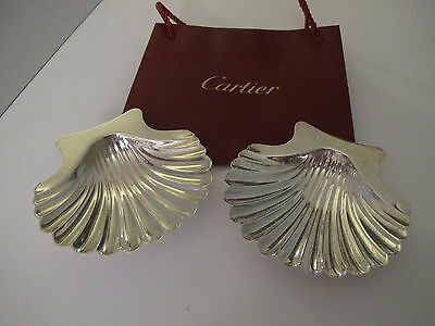 """Vintage Pair Of Cartier Sterling Silver Candy/nut Shell Bowls, 5"""""""