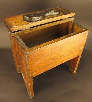 Vintage Shoe Shine Stool with Flip Top Stand
