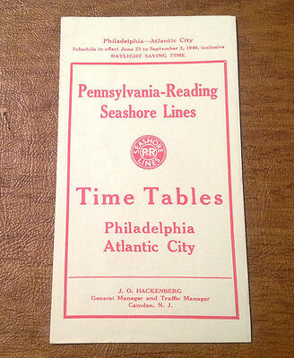 Vtg 1940 Pennsylvania-Reading Seashore Lines Time Tables Philly - Atlantic City