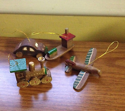 4 Vintage Wooden Christmas Ornaments Lot Plane Car Boat Train