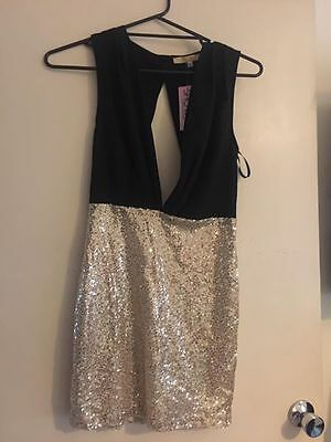Showpo Black Gold Dress Size 10