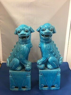 """Antique Feng Shui Chinese Porcelain Pair Of 10"""" Blue Foo Fu Lion Dogs"""