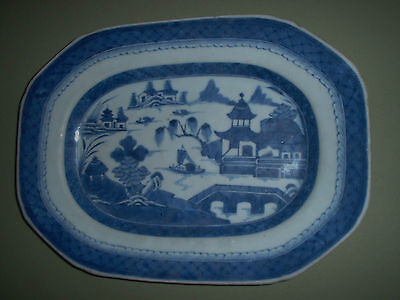 ANTIQUE 18 / 19th CENTURY CANTON CHINESE EXPORT PLATTER BEST BLUE