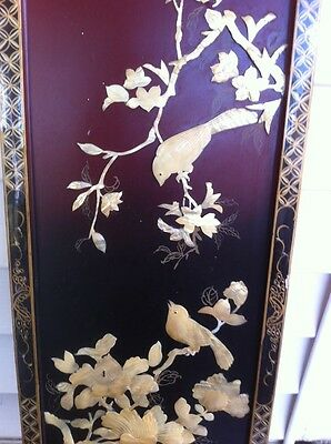Mother of Pearl Shell Beautiful Birds Oriental Artwork Wall Panel