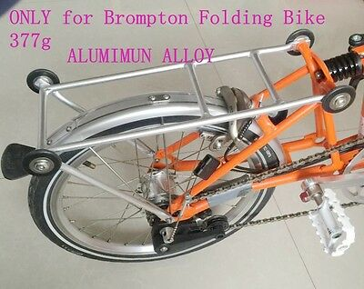 New luggage carrier for Brompton Folding Bike easy to push with rolling-wheels
