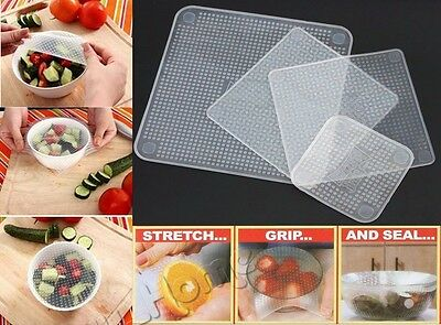 4PCS~~ Reusable Silicone Food Stretch and Fresh Storage Wraps Seal Kitchen Tools