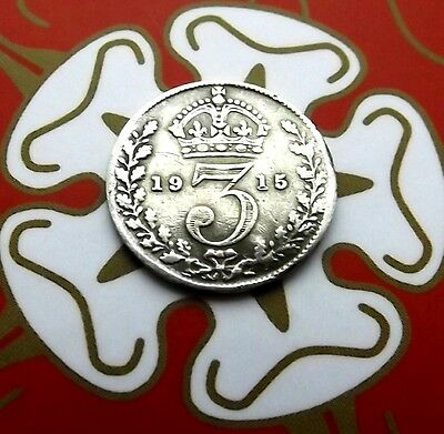 3d silver George V coin the second year of the Great War