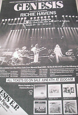 Genesis Earls Court Gig Advert From 1977 With Richie Havens