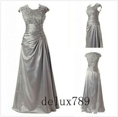 Custom Made Cap Sleeve Lace Satin Mother Of The Bride Dress Party Formal Gown