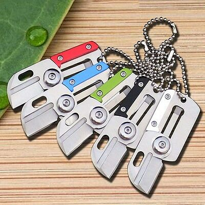 Dog Tag Folder Knife Stainless Hunting Outdoor Mini Key Holder EDC Survival Tool