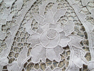 Vintage handmade needle lace runner from cream cotton