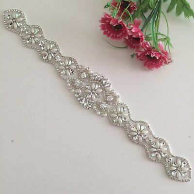 Ivory/ Champagne Pearl Rhinestone Applique Beaded Wedding Sash Belt