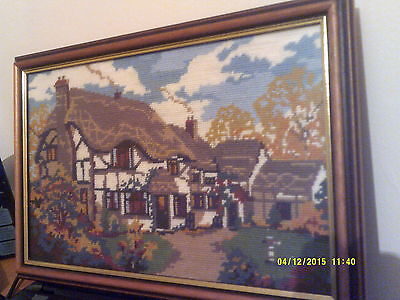 "Glass Framed Tapestry Picture Thatched Country Cottage Scene Size 16"" X 11"" Used"