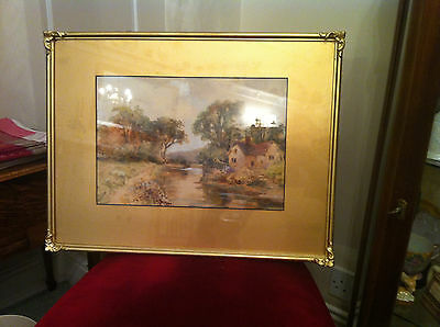 Original signed watercolour by E Leigh. Lancashire (?) river and cottage