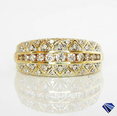 Solid 9K 9ct 375 Yellow Gold Natural Diamond Patterned Dress Ring Size O 4.5gms