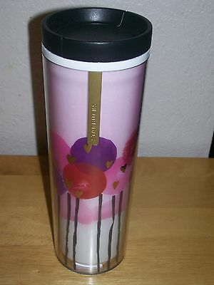 New Starbucks 16 Oz Acrylic Coffee Mug Tumbler ~ Balloons Hearts With Lid