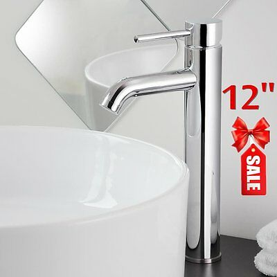 "New  12"" Modern Bathroom Lavatory Vessel Sink Faucet Chrome Single/One Handle HL"