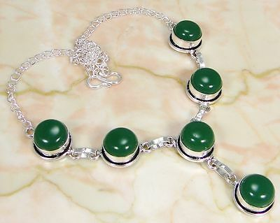 "Green onyx & 925 Silver Handmade Fashionable Necklace 18"" GH-10315"