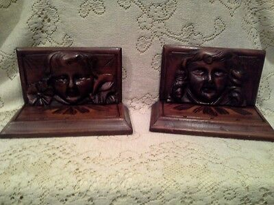 Vintage Wood Hand Carved Womans Faces For Antique Furniture