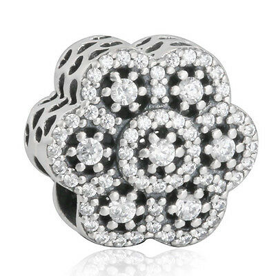 ICE FLORAL Charm 925 Solid Sterling Silver Clear Pave Flower Bead for Bracelet