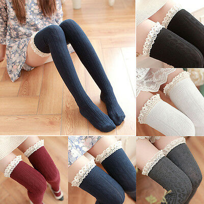 US STOCK Warm Cotton Thigh High Long STOCKINGS Knit Over Knee Lace Girls Socks